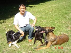 Olivier Gay et ses trois chiens